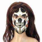 Deportes al aire libre Skull Pattern Buceo Cloth completa Face Mask w / Magic Tape - Negro + Blanco + Negro