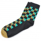 Grid Pattern Fashion Man's Tights Ankle High Cotton + Polyester Socks - Black + Green0 (Pair)