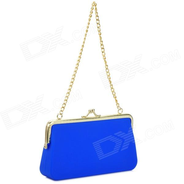 Ultra-Slim Lady's Soft Silicone Hand Bag - Blue + Golden