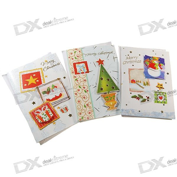 "Music + LED Christmas Holiday Cards with Envelopes - ""Merry Christmas"" (Assorted 3-Pack)"