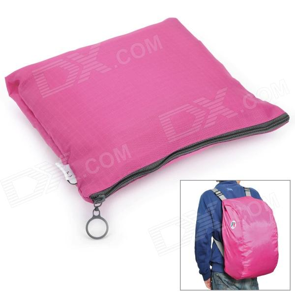 Folding Portable Poly Backpack / Shoulder / Hand Bag - Deep Pink