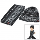Flower Pattern Fashion Lady's Polar Fleece Warmer Cap + Scarf - Black + White