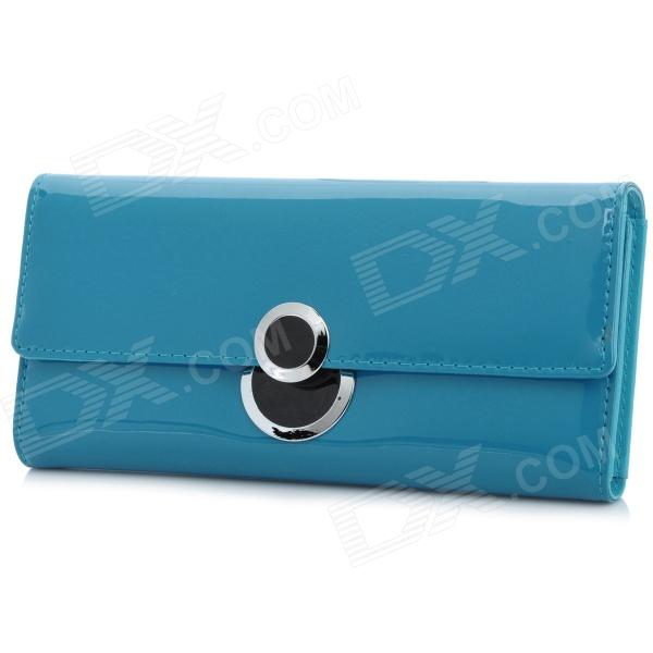 Fashion Lady's PU Leather Long Hand Wallet w/ Slots - Blue