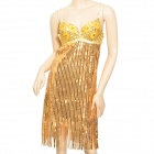 Sexy Lady's Net Yarn + Sequins Sleeveless Bra Dress for Top Cocktail Evening Club Party - Golden