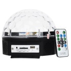 18W 100lm 6-LED RGB Voice-Controlled Musik Crystal Light - White + Black (EU Plug)
