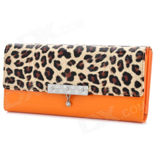 Leopard Grain Pattern Lady's PU Leather Long Hand Wallet w/ Slot - Orange