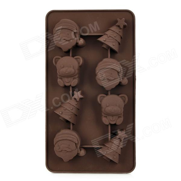 Lovely Christmas Tree Santa & Bear Shaped 8-Cup Silicone DIY Mold for Cake / Chocolate - Coffee