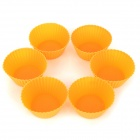 Round Shaped Silicone DIY Mold Tray for Cake / Pudding - Orange (6 PCS)