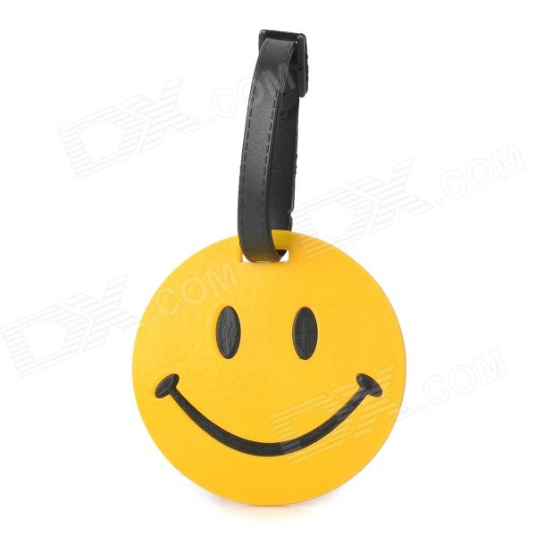 Fun Smiley face Style Travel Suitcase Luggage ID Tag - Yellow + Black
