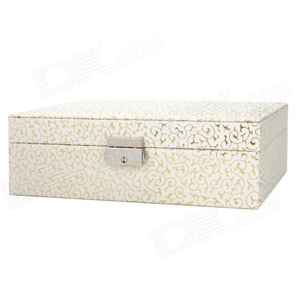 Alligator Pattern PU Leather 2-Layer Cosmetic / Jewelry Storage Box w/ Lock - White flower pattern foldable cosmetic storage box blue white