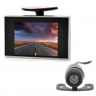 2-in-1 2.4GHz Wireless Camera + 3.5&quot; LCD Car Vehicle Rearview Mirror Monitor Set - Black + Silver