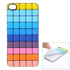 iEasypatch Soft Foam 3D Check Pattern Back Sticker for iPhone 4 / 4S - Multicolor