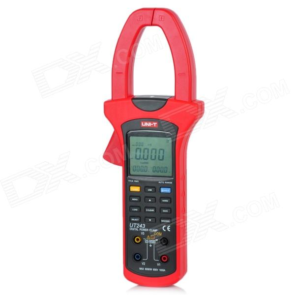 UNI-T UT243 2.5 LCD Electric Clamp Harmonic Wave Power Meter - Red + Deep Grey (4 x AA) fluke f302 1 6 lcd ac clamp meter yellow red 3 x aaa