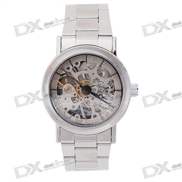 IK Colouring Crystals See-Thru Stainless Steel Mechanical Wrist Watch