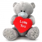 Cute Bear Tatty Teddy Holding Love Heart Short Plush Doll Toy - Grey + Red