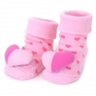 Cute Love Heart Style Baby Non-Slip Cotton Socks - Pink + Deep Pink (Pair)