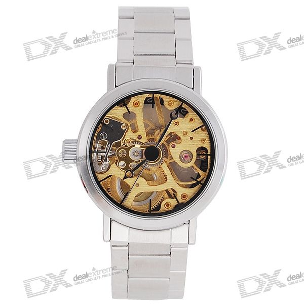 Simple See-Thru Stainless Steel Semi-Automatic Mechanical Lady's Wrist Watch