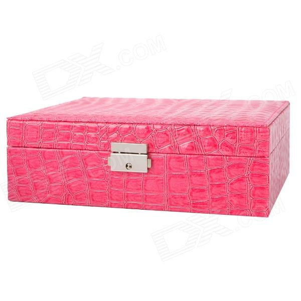 Alligator Pattern PU Leather 2-Layer Cosmetic / Jewelry Storage Box w/ Lock - Deep Pink
