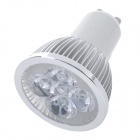 GU10 4W 400lm 6000K White 4-LED Dimming Spot Light - Silver (110V)