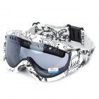 PANLEES F16 Skiing Windproof Anti-Fog Dual-Layer Lens Goggles - White + Black