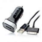 Momax Car Power Charger Single-USB Adapter w / 30-Pin-Ladekabel - Schwarz (DC 12 ~ 24V)