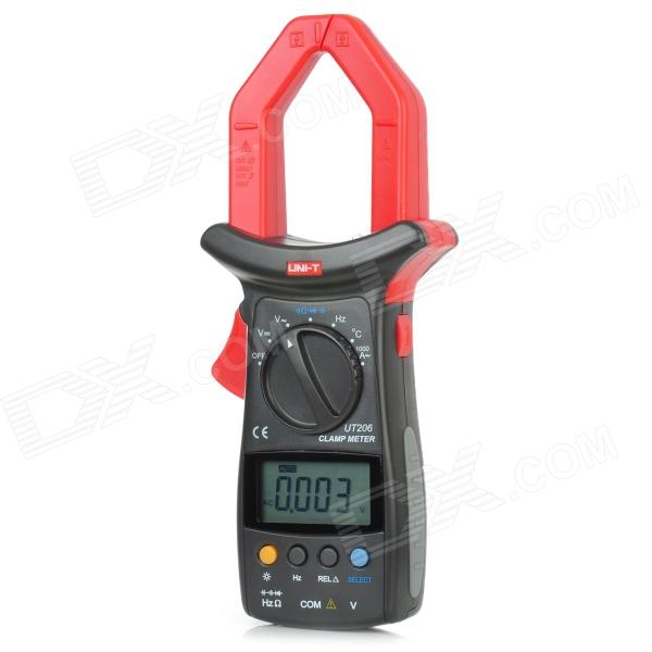 UNI-T UT206 2.3 LCD Digital Clamp Multimeter - Red + Dark Grey (1 x 9V Battery)Multimeters<br>ModelUT206Quantity1ColorDarkQuantity1ColorDarkForm  ColorRedMaterialABSLCDMax. Display3999DCDC Voltage400mVAC Voltage4VDC CurrentNAC Current400AResistance400WPacking List<br>