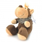 Cute Pongo Satyrus Style Plush Doll Toy with Scarf / Suction Cup - Deep Brown + Sand Yellow