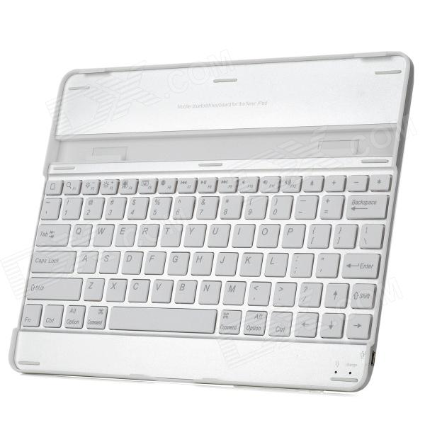 WELLSN UKB-310-BT Rechargeable Wireless Bluetooth 2.0 82-Key Keyboard for Ipad 2 - White + Silver