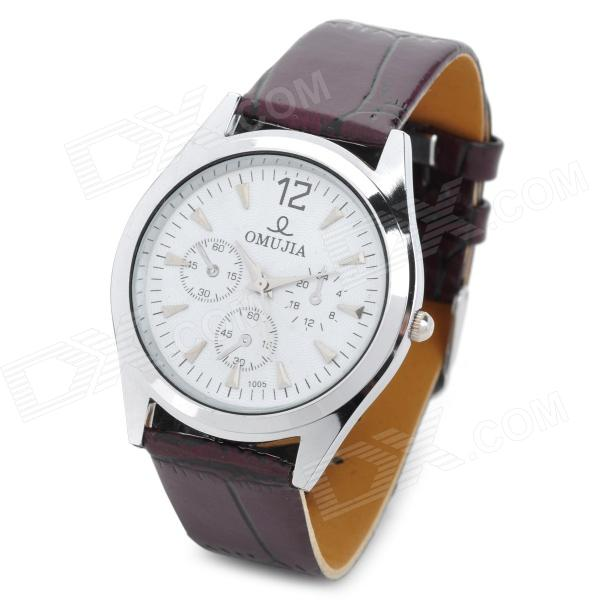 62437 Men's Round Dial PU Leather Band Quartz Wrist Watch - Brown + White