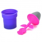 Flower Shaped Silicone Tea Leaves Infuser - Purple + Deep Pink