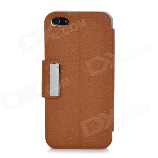 Stylish Protective PU Leather Case w/ Touch Cover for Iphone 5 - Brown stylish protective pu leather case w magnetic closure for iphone 4 4s black