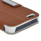 Stylish Protective PU Leather Case w/ Touch Cover for Iphone 5 - Brown