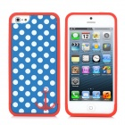 Polka Dot Style Protective Bumper Frame Back Case w/ Screen Guard for iPhone 5 - Blue + White + Red