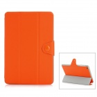 Oblique Grain 3-Folding Protective PU Leather Case Stand for Ipad MINI - Orange
