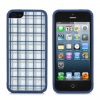 Gridiron Pattern Protective Bumper Frame Back Case w/ Screen Guard for Iphone 5 - Blue + White