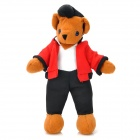 Cool Bear Style Plush Doll Toy - Brown + Black + White + Red