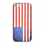 US National Flag Pattern Protective Plastic Case for Iphone 5 - Black + White + Red + Blue