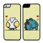 Lovers Protective Superman + Monster Pattern Glänzende zurück Fall für iPhone 5 - Light Yellow (2 PCS)