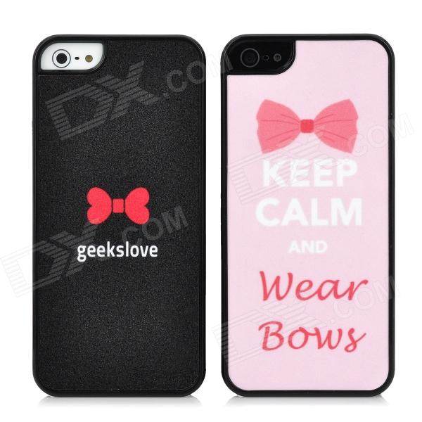 Lovers Protective Bowknot Style Shining Back Case for Iphone 5 - Black + Pink (2 PCS) ipega i5056 waterproof protective case for iphone 5 5s 5c pink