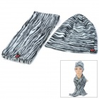 Stripe Pattern Fashion Lady's Polar Fleece Warmer Cap + Scarf - Black + White