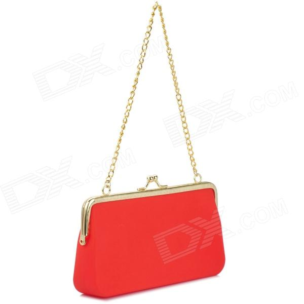 Light Silicone Handbag w/ Chain - Red + Golden