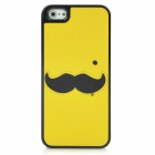 Cute Mustache Pattern Protective Plastic Back Case for Iphone 5 - Yellow + Black