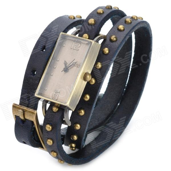 Women's Bracelet Style Rectangle Dial Cowhide Leather Wrist Watch - Black + Bronze