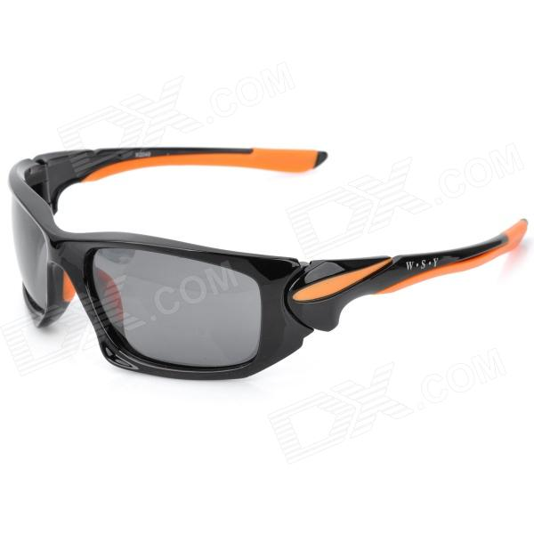 CARSHIRO LX-1277 Sports Riding UV400 Protection Resin Lens Polarized Sunglasses - Black + Orange clip on uv400 protection resin lens attachment sunglasses small