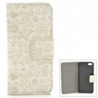 Cute Pattern Protective PU + Plastic Flip Case for Iphone 5 - Beige