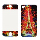 22010003 Eiffel Tower Pattern Screen Protectors for iPhone 4 / 4S - Black + Red