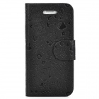 Cute Pattern Protective PU + Plastic Flip Case for Iphone 5 - Black