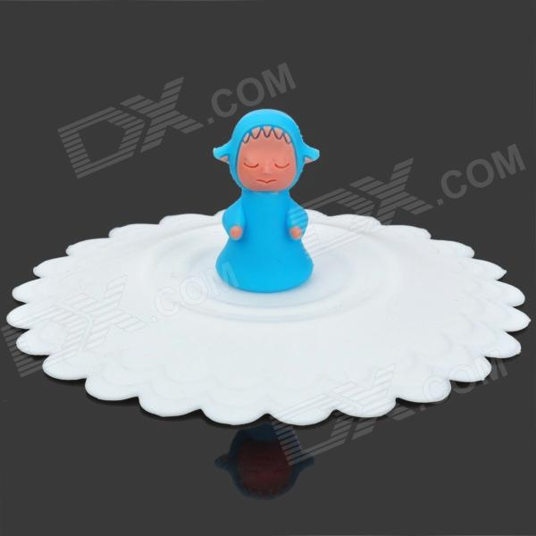 Cute Cartoon Pattern Silicone Cup Cover Lid - White + Blue