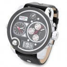 WEIDE WH2305-4 Men's Sports Diving PU Leather Band Analog + Digital Display Wrist Watch - Black