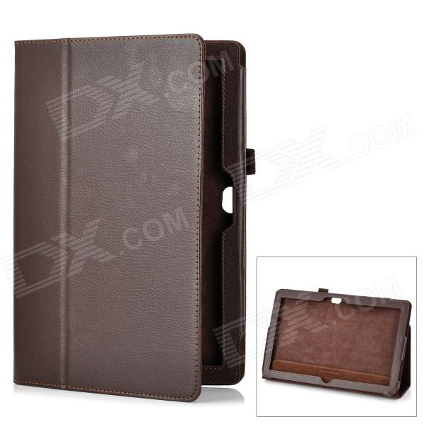 Protective Genuine Leather Case Stand for Microsoft Surface RT - Brown protective genuine leather case stand for microsoft surface rt purple